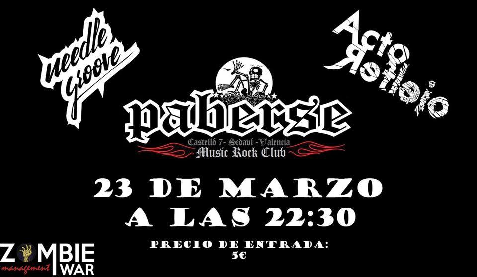 Acto Reflejo y Needle Groove en Valencia 23 de marzo